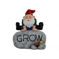 """Gnome on Garden Rock with """"Grow"""" Wording"""