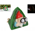 Gnome in Tent with Solar Light Binoculars