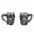 Silver Skulls Design Mug with Red Gem Eyes