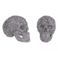 Silver Roses & Flowers Design Electroplated Skull Head
