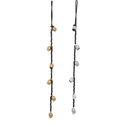 Brass Bells on Rope with Black Beads