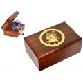 Brass Inlay Unicorn Wood Box