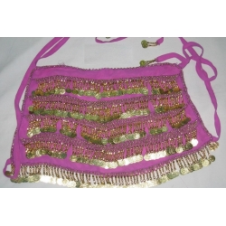 Belly Dancing Choli Top with Coins (Pink)