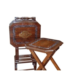 Handcrafted Wooden Tables Set with Stand