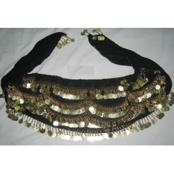 Belly Dancing Scarf with Coins (Black)