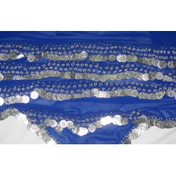 Belly Dancing Scarf with Coins (Blue)