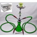 Twin Pipe Hookah with Case (Green)