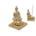 Gold Rulai Buddha on Lotus Incense Burner