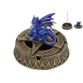 Blue Dragon on Celtic Pentagram Design Incense Burner/Ashtray