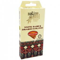 Native Soul White Sage & Dragons Blood Backflow Cones (Jumbo)