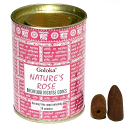 Goloka Natures Rose Backflow Cones in Tin