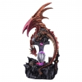 Crystal Fire Dragon on Crucifix & Light Up Flame Castle