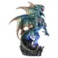 Crystal Earth Dragon in Armour Guarding Light Up Pyramid