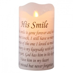 """His Smile"" Memorial Light Up LED Candle"
