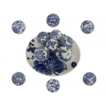 Blue Willow Decor Balls & Display Plate