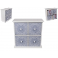 BoHo/Mandala Blue & White Design Drawer Cabinet