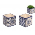 Blue Willow Decor Square Pot