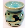 Ceramic Oil Burner (Floral/Aqua)