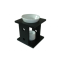 Ceramic Oil Burner with Stand (Black)