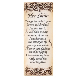 """Her Smile"" Memorial Wall Plaque"