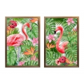 Flamingo Ferns Design Acrylic Print (Transparent)