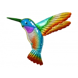Metal & Glass Hummingbird Wall Plaque