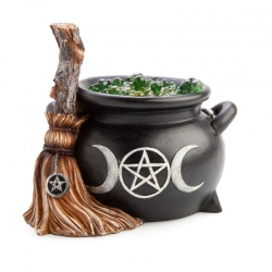 Witches Broomstick & Light Up Cauldron